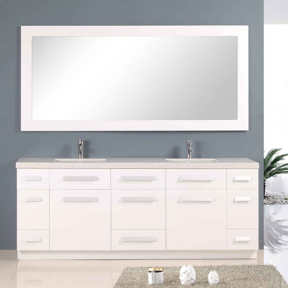 Design element moscony 84 double sink vanity set white free shipping modern bathroom for 84 inch white bathroom vanity