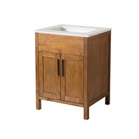 "Stufurhome Evangeline 25"" Single Sink Bathroom Vanity with White Quartz Top - Natural Wood TY-6343-25-QZ"