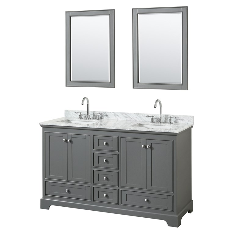 "Deborah 60"" Double Bathroom Vanity by Wyndham Collection - Dark Gray WC-2020-60-DBL-VAN-DKG"