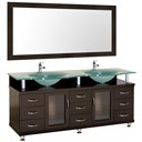 "Accara 72"" Double Bathroom Vanity with Mirror - Espresso w/ Frosted Glass Counter B706D-72-ESP"