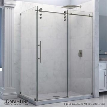 "Bath Authority DreamLine Enigma-Z Fully Frameless Sliding Shower Enclosure, 34-1/2"" by 60-3/8"" SHEN-6234600 by Bath Authority DreamLine"