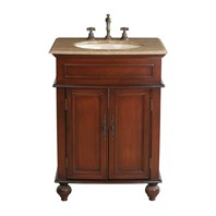 "Stufurhome 26"" Prince Single Sink Vanity with Travertine Marble Top - Cherry Red GM-2333-26-TR"