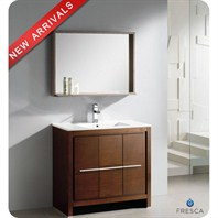 "Fresca Allier 36"" Wenge Brown Modern Bathroom Vanity with Mirror FVN8136WG"