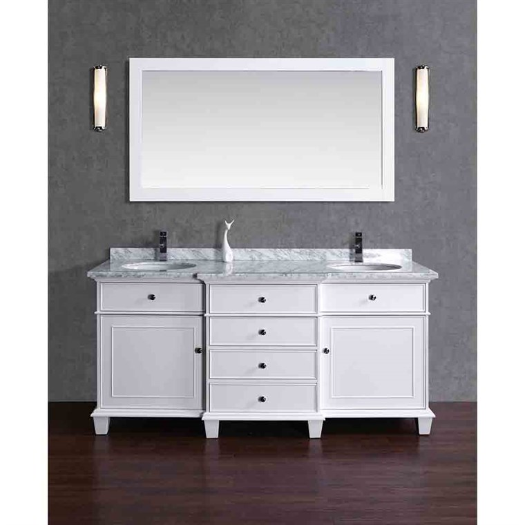 "Stufurhome Cadence White 60"" Double Sink Bathroom Vanity with Mirror - White HD-7000W-60-CR"