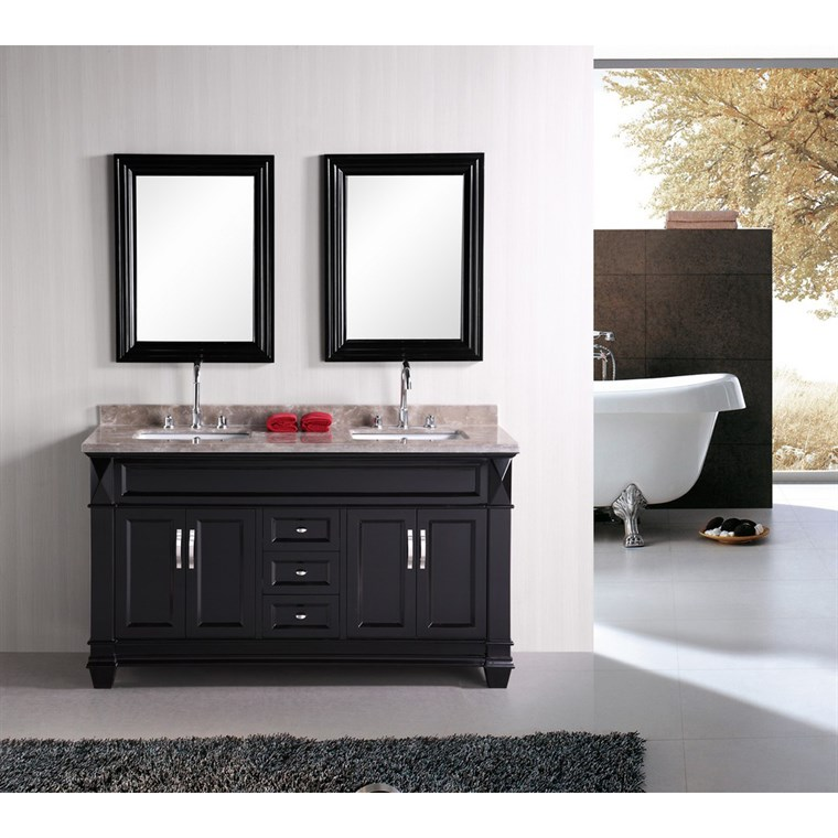 "Design Element Hudson 60"" Double Sink Bathroom Vanity - Black DEC059C"