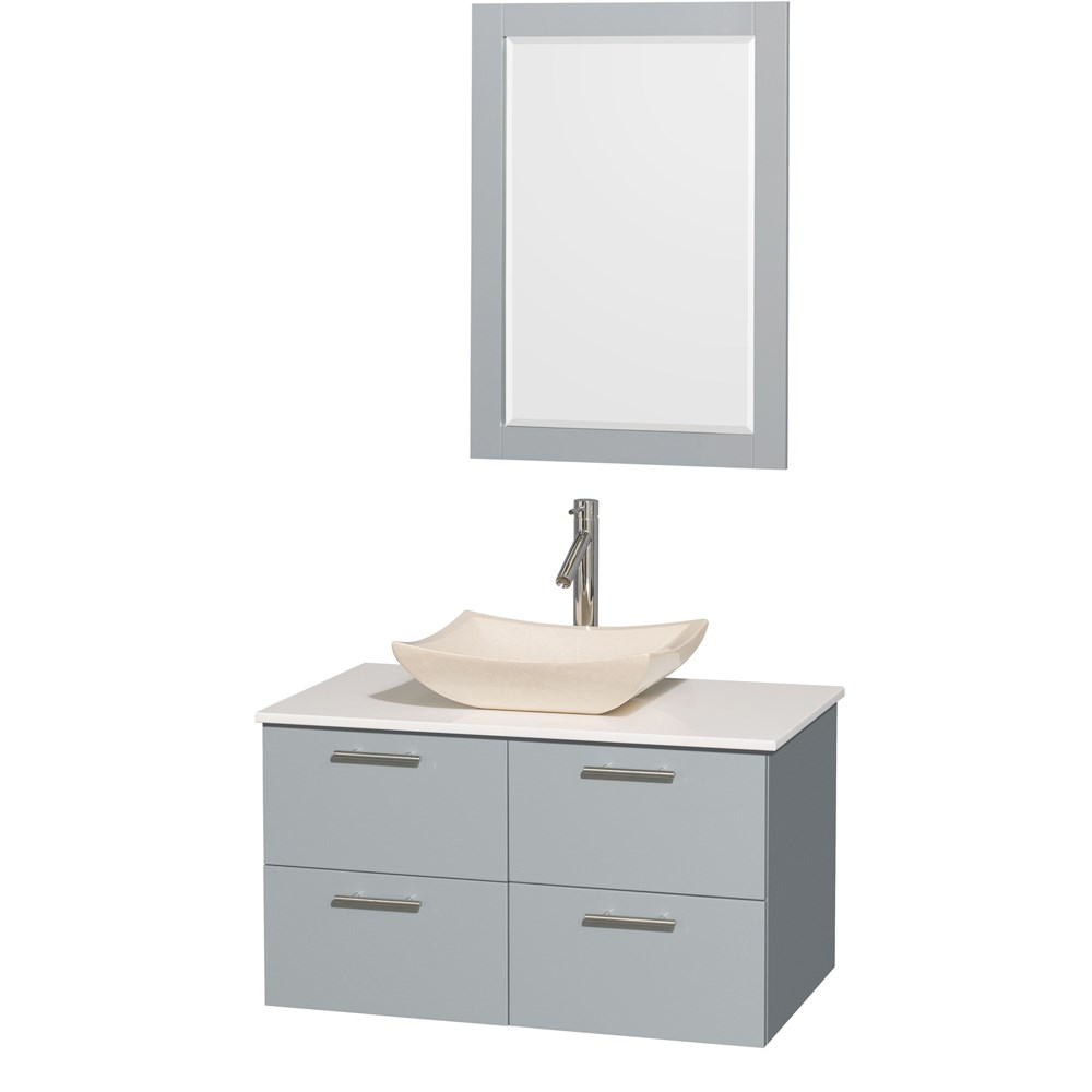 Amare 36 inch Wall Mounted Bathroom Vanity Set with Vessel Sink by Wyndham Collection Dove Gray