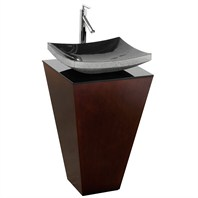 Esprit Custom Bathroom Pedestal Vanity Set by Wyndham Collection - Espresso w/ Black Granite Sink WC-CS004-20-ESP-GR