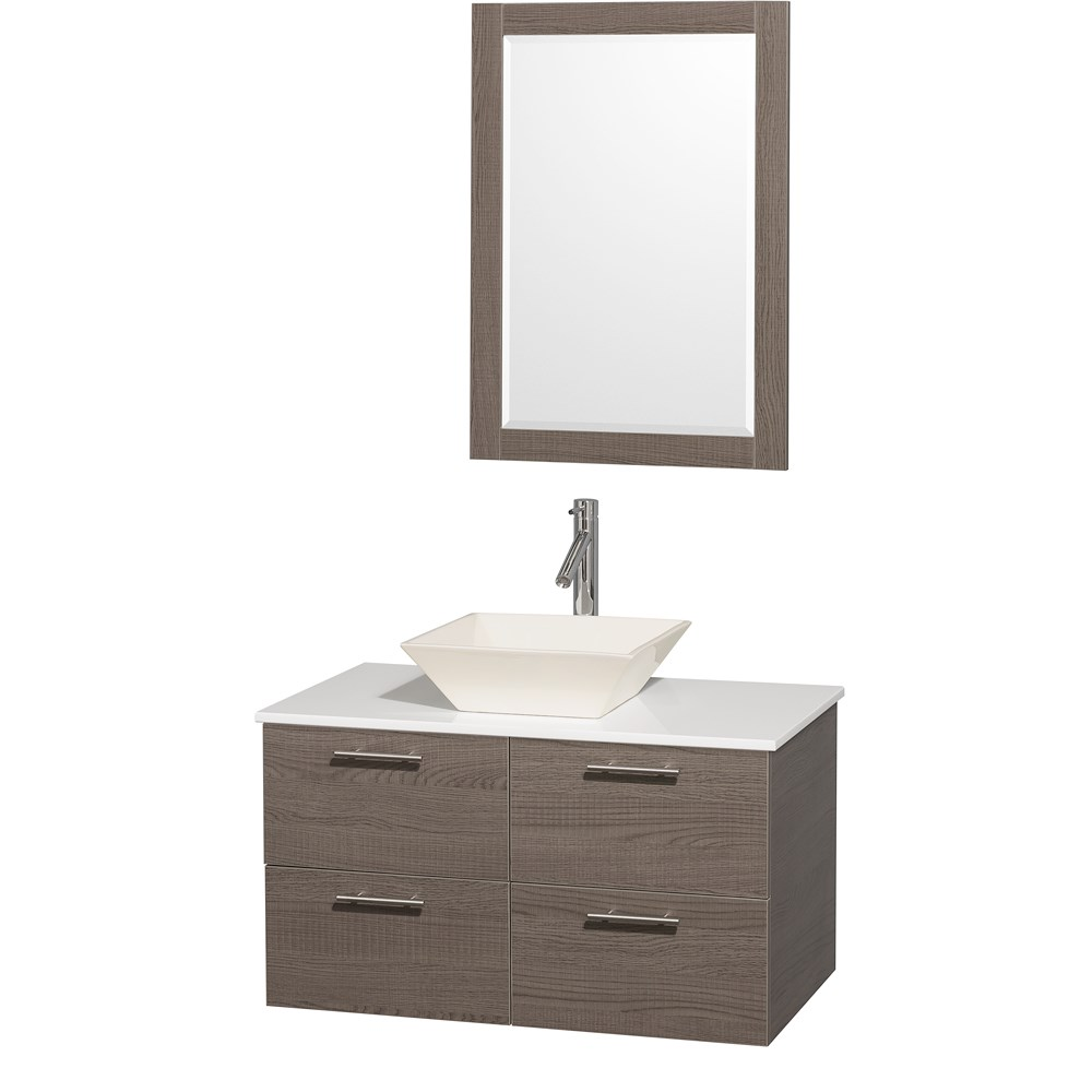 "Amare 36"" Wall-Mounted Bathroom Vanity Set with Vessel Sink by Wyndham Collection - Gray Oaknohtin Sale $949.00 SKU: WC-R4100-36-GRO- :"
