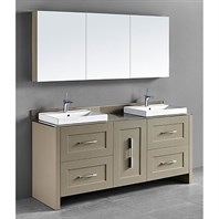 "Madeli Retro 72"" Double Bathroom Vanity for Glass Counter and Porcelain Basin - Cashmere B700-72D-001-CM-GLASS"