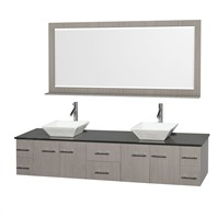 "Bianca 80"" Wall-Mounted Double Bathroom Vanity - Gray Oak WHE007-80-GROAK"