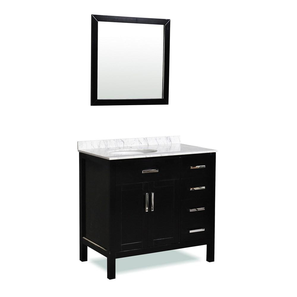 "Belmont decor Ashland 36"" Single Sink Vanity Set with Carrera White Marble Countertop - Espressonohtin Sale $789.00 SKU: ST10D4-36-BLK :"
