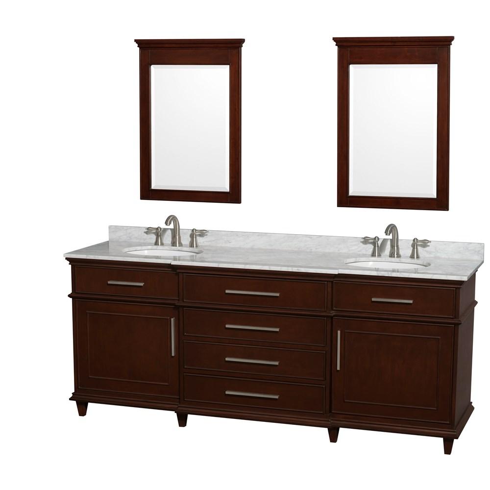 "Berkeley 80"" Double Bathroom Vanity by Wyndham Collection - Dark Chestnutnohtin Sale $1449.00 SKU: WC-1717-80-DBL-CDK :"