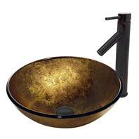 VIGO Liquid Gold Glass Vessel Sink and Dior Faucet Set in Antique Rubbed Bronze Finish VGT385
