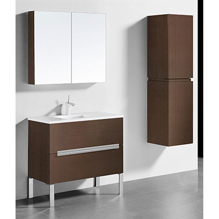 "Madeli Soho 36"" Bathroom Vanity for Quartzstone Top - Walnut B400-36-001-WA-QUARTZ"