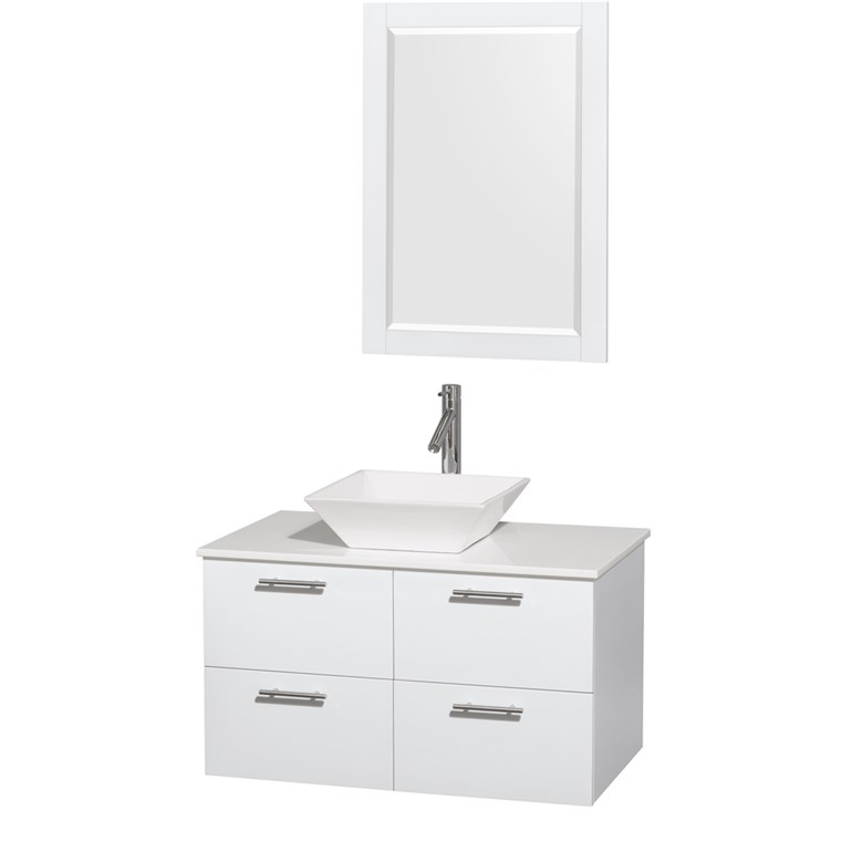"Amare 36"" Wall-Mounted Bathroom Vanity Set with Vessel Sink by Wyndham Collection - Glossy White WC-R4100-36-WHT"