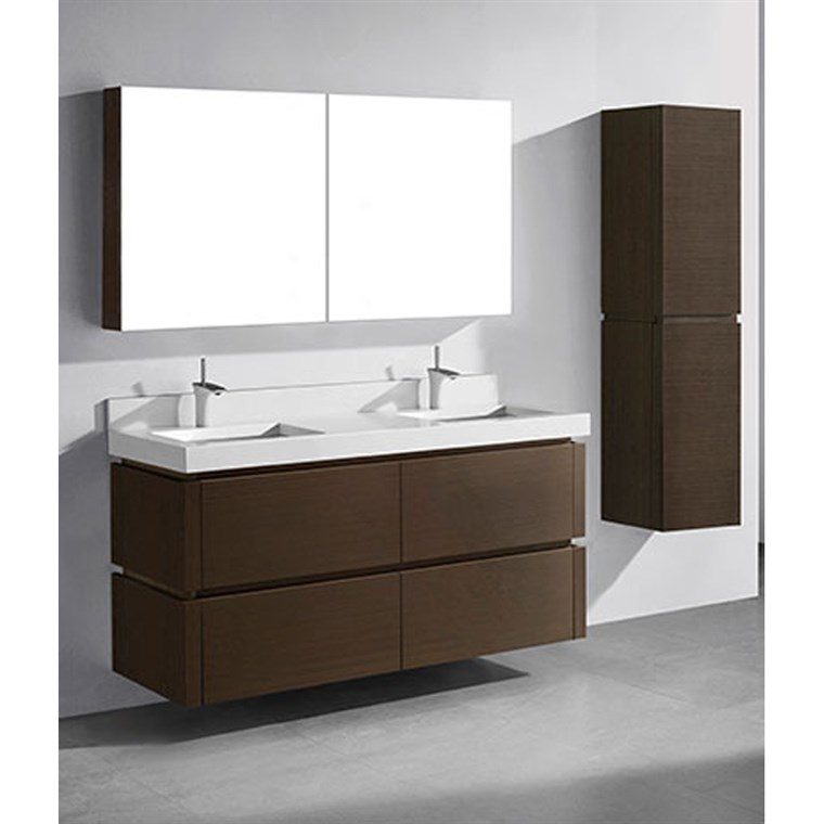 "Madeli Cube 60"" Double Wall-Mounted Bathroom Vanity for Quartzstone Top - Walnut B500-60D-002-WA-QUARTZ"