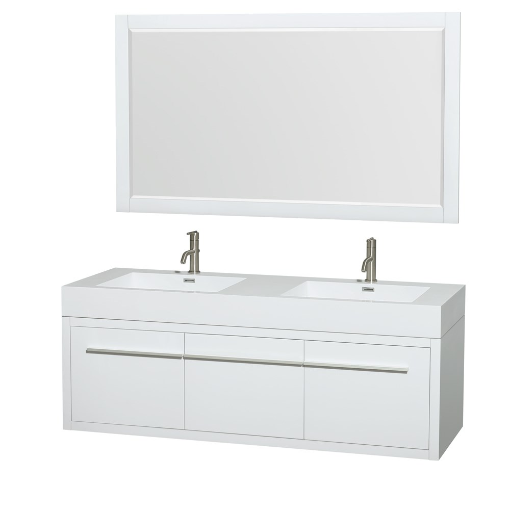 "Axa 60"" Wall-Mounted Double Bathroom Vanity Set With Integrated Sinks by Wyndham Collection - Glossy Whitenohtin Sale $1499.00 SKU: WC-R4300-60-VAN-WHT :"