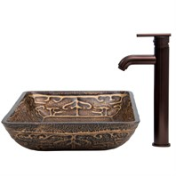 VIGO Rectangular Golden Greek Glass Vessel Sink and Faucet Set VGT284-