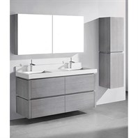 "Madeli Cube 60"" Double Wall-Mounted Bathroom Vanity for Quartzstone Top - Ash Grey B500-60D-002-AG-QUARTZ"