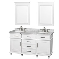 "Berkeley 60"" Double Bathroom Vanity by Wyndham Collection - White WC-1717-60-DBL-WHT"