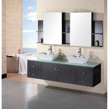 "Design Element Portland 72"" Wall Mount Bathroom Vanity Set, Espresso DEC071B by Design Element"