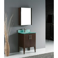 "Madeli Caserta 24"" Bathroom Vanity with Glass Basin - Walnut B918-24-001-WA-GLASS"