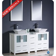 "Fresca Torino 60"" White Modern Double Sink Bathroom Vanity with Side Cabinet, Vessel Sinks, and Mirrors FVN62-241224WH-VSL"