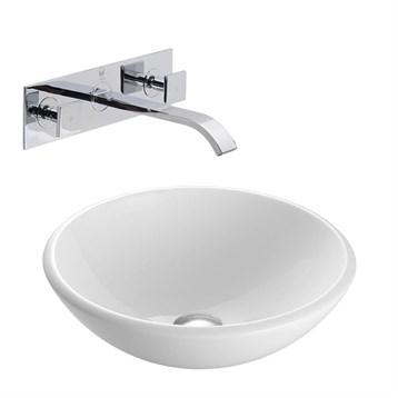 Vigo White Phoenix Stone Vessel Sink with Titus Wall Mount Faucet Set VGT215- by Vigo Industries