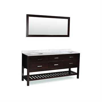 "Belmont decor Nautica 72"" Double Sink Vanity Set with Carrera White Marble Countertop, Espresso DT2D4-72-ESP by Ariel"