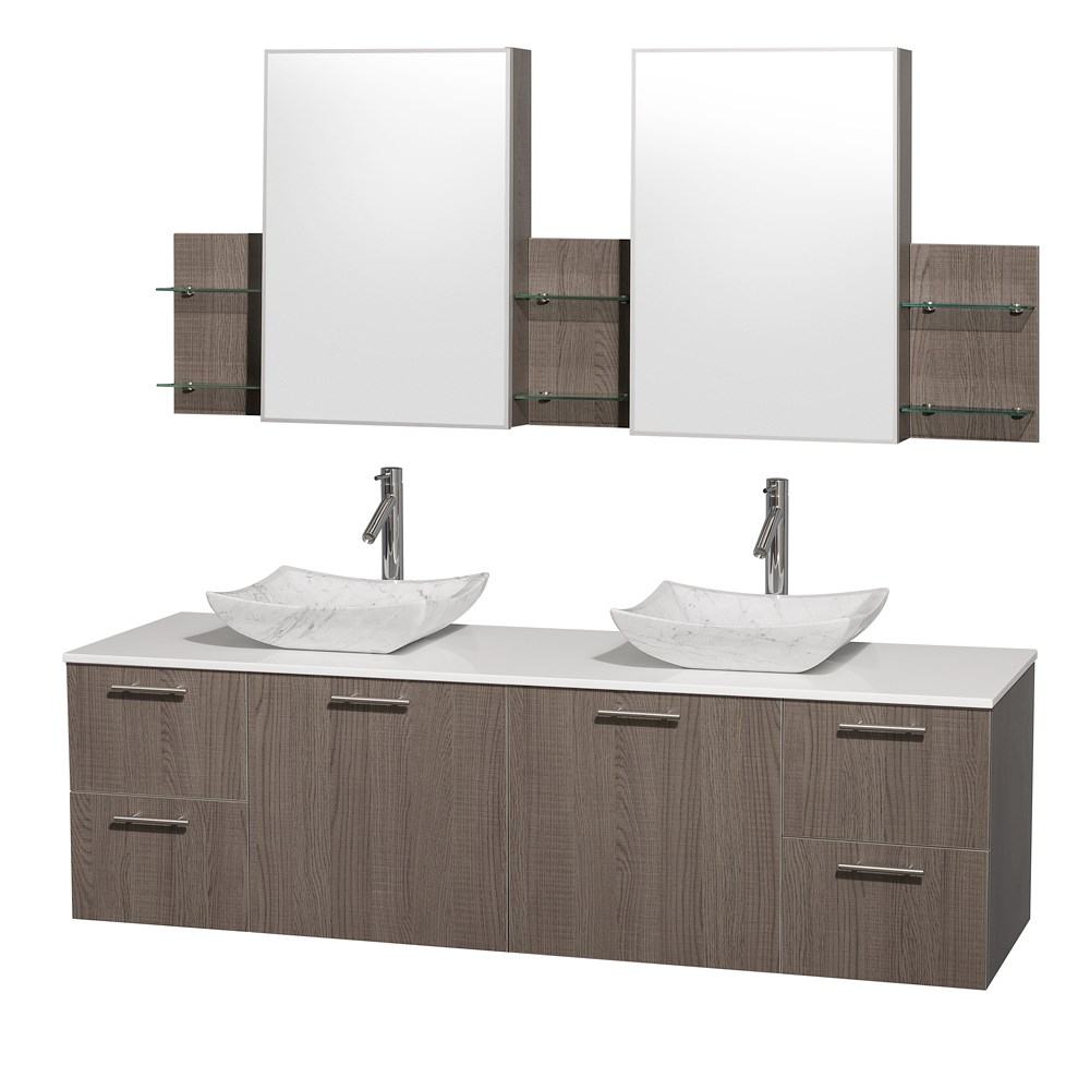 "Amare 72"" Wall-Mounted Double Bathroom Vanity Set with Vessel Sinks by Wyndham Collection - Gray Oaknohtin Sale $1499.00 SKU: WC-R4100-72-VAN-GRO-DBL :"