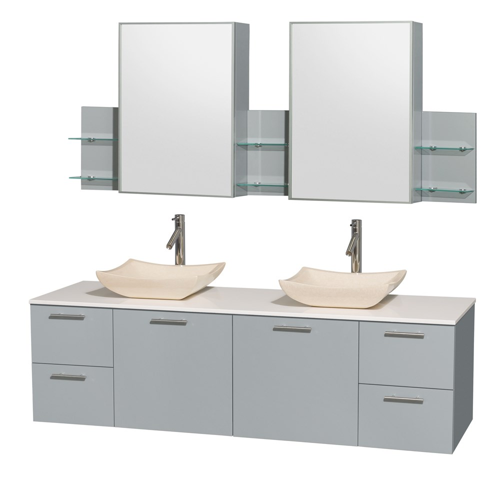 """Amare 72"""" Wall-Mounted Double Bathroom Vanity Set with Vessel Sinks by Wyndham Collection - Dove Graynohtin Sale $1499.00 SKU: WC-R4100-72-DVG-DBL :"""