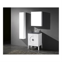 "Madeli Genova 24"" Bathroom Vanity for Quartzstone Top - Glossy White B922-24-001-GW-QUARTZ"