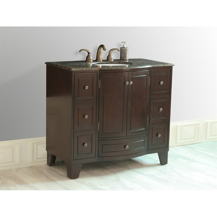 "Stufurhome 40"" Grand Cheswick Single Sink Vanity with Baltic Brown Granite Top - Dark Cherry GM-2206-40-BB"
