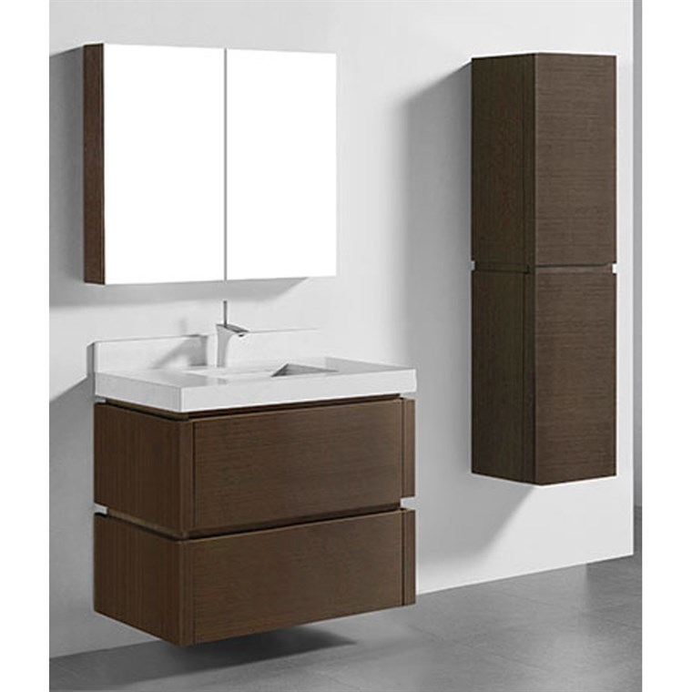 "Madeli Cube 36"" Wall-Mounted Bathroom Vanity for Quartzstone Top - Walnut B500-36-002-WA-QUARTZ"