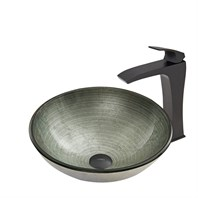 VIGO Simply Silver Glass Vessel Sink and Blackstonian Faucet Set in Matte Black Finish VGT609