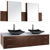 "Bianca 72"" Wall-Mounted Double Bathroom Vanity - Zebrawood WHE007-72-ZEBRA-DBL"