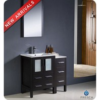 "Fresca Torino 36"" Espresso Modern Bathroom Vanity with Side Cabinet & Integrated Sink FVN62-2412ES-UNS"