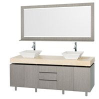 "Malibu 72"" Double Bathroom Vanity Set by Wyndham Collection - Gray Oak Finish with Ivory Marble Counter WC-CG3000-72-GROAK-IVO"