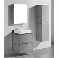 "Madeli Cube 24"" Wall-Mounted Bathroom Vanity for Glass Counter and Porcelain Basin - Ash Grey B500-24-002-AG-GLASS"