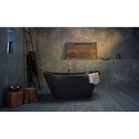 Aquatica PureScape 748BM Freestanding Graphite Black Stone Bathtub - Matte Black Aquatica PS748M-Blck