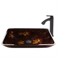 VIGO Rectangular Brown and Gold Fusion Glass Vessel Sink and Linus Faucet Set in Antique Rubbed Bronze Finish VGT476