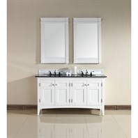 "James Martin 60"" North Hampton Double Vanity with Absolute Black Top - White 900-V60D-PWH-ABK"
