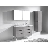 "Madeli Milano 48"" Double Bathroom Vanity for X-Stone Integrated Basins - Ash Grey B200-48D-002-AG-XSTONE"