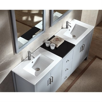 Ariel Hanson 72 Double Sink Vanity Set With Black Granite Countertop