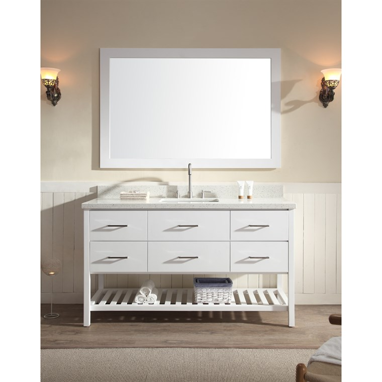 "Ariel Shakespeare 61"" Single Sink Vanity Set with White Quartz Countertop - White G061S-WHT"