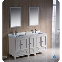 "Fresca Oxford 60"" Traditional Double Sink Bathroom Vanity with Side Cabinet - Antique White FVN20-241224AW"