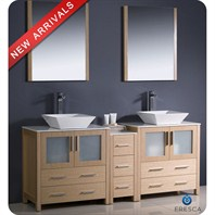 "Fresca Torino 72"" Light Oak Modern Double Sink Bathroom Vanity with Side Cabinet, Vessel Sinks, and Mirrors FVN62-301230LO-VSL"