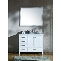 "Ariel Cambridge 43"" Single Sink Vanity Set with Right Offset Rectangle Sink and Carrara White Marble Countertop - White A043S-R-CWR-WHT"