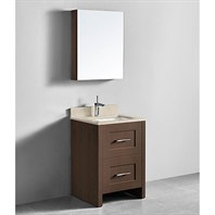 "Madeli Retro 24"" Bathroom Vanity for Quartzstone Top - Walnut B700-24-001-WA-QUARTZ"