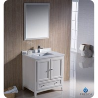 "Fresca Oxford 30"" Traditional Bathroom Vanity - Antique White FVN2030AW"